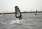 Marghera Surfing - Nella laguna veneziana, davanti a Porto Marghera c'è chi approfitta del forte vento per fare windsurf