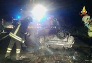 Auto in fiamme, due morti in A13