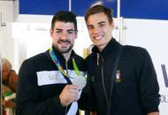 Olimpiadi, festa per il ritorno in Italia di Cagnotto e Lanza | Foto | Video