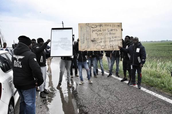 Cona, nuova protesta dei migranti Cartelli e strada bloccata