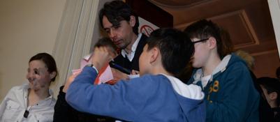 Pippo Inzaghi sale in cattedra«Lezione» a scuola con i ragazzi