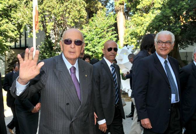 Con il presidente Baratta all'ingresso dei Giardini