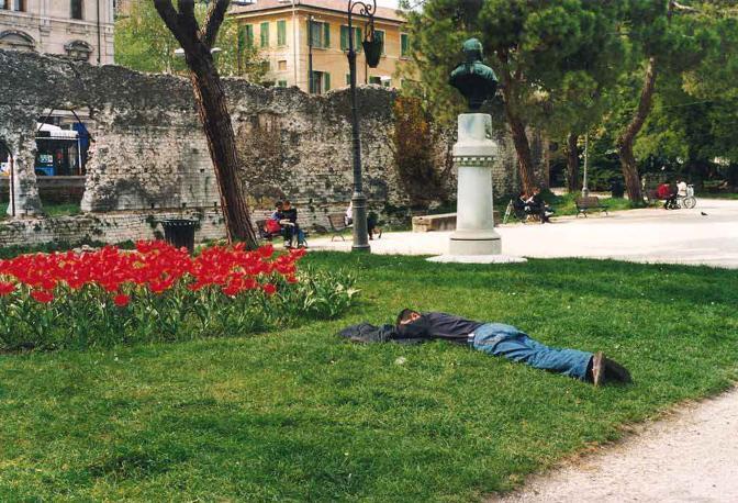 Quel giorno camminavo per fotografare sprazzi di quotidianità delle persone e ho scattato questa foto. Giardini dell'Arena, Padova