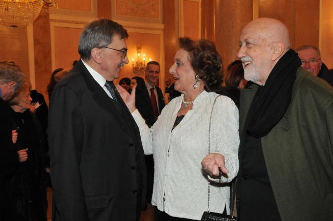 Cesare De Michelis con Barbara di Valmarana e Pier Luigi Pizzi