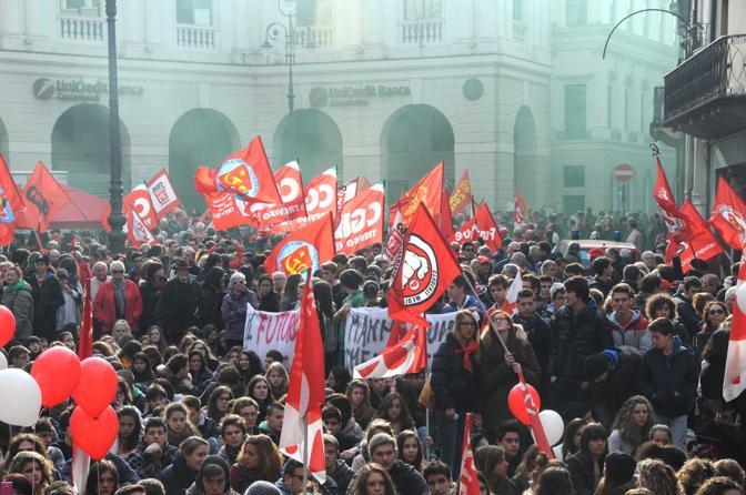 Treviso, la manifestazione generale in piazza dei Signori (Balanza)