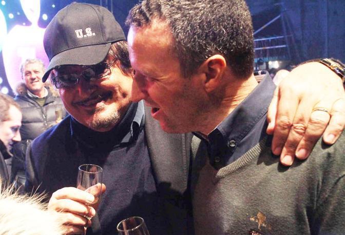 Capodanno 2013 in piazza Bra: Umberto Smaila con il sindaco Flavio Tosi