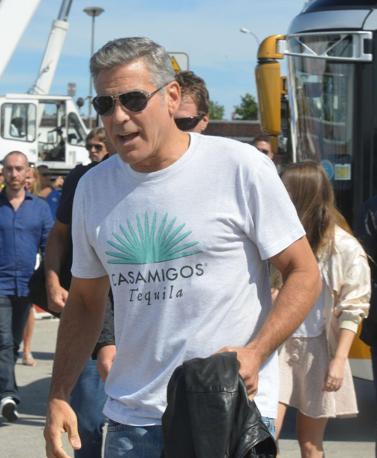 George Clooney a Venezia per l'arrivo dell'attore allo scalo fluviale del Tronchetto