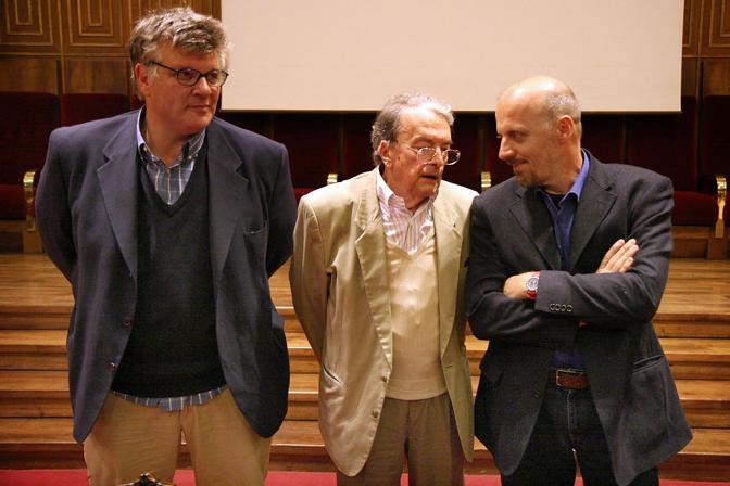 Con Luigi Meneghello e Marco Paolini al Bo di Padova (Gobbi)
