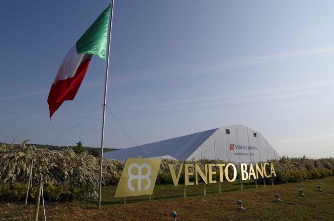 Volpago del Montello. Assemblea soci di Veneto Banca. La tensostruttura