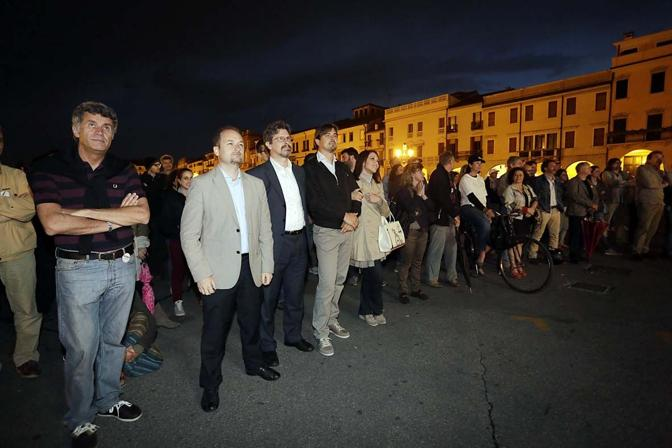 Giuliano Altavilla ha allestito un maxischermo in Prato della Valle per seguire il comizio di Grillo da piazza San Giovanni