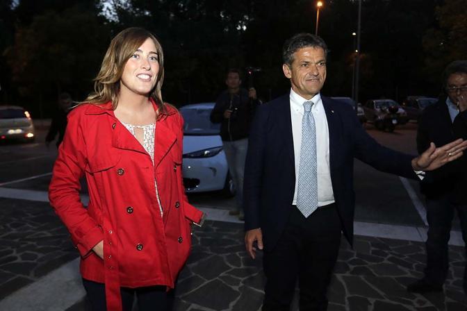 Ivo Rossi, insieme al ministro Maria Elena Boschi, al centro congressi «Papa Luciani»