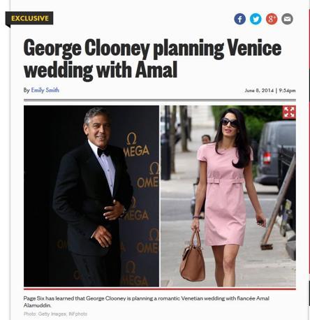 Le nozze di George Clooney e le indiscrezioni del New York Post