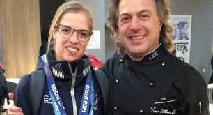Lo chef Tino Vettorello con Carolina Kostner