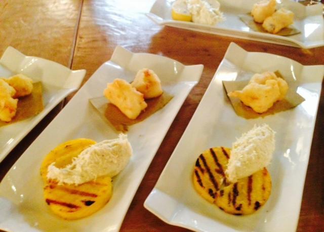 Baccala mantecato su polentina e cuore di merluzzo fritto