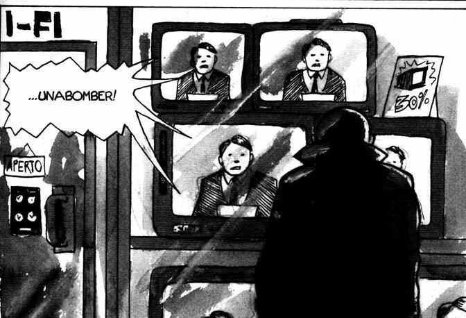Un fotogramma del fumetto dedicato a Unabomber