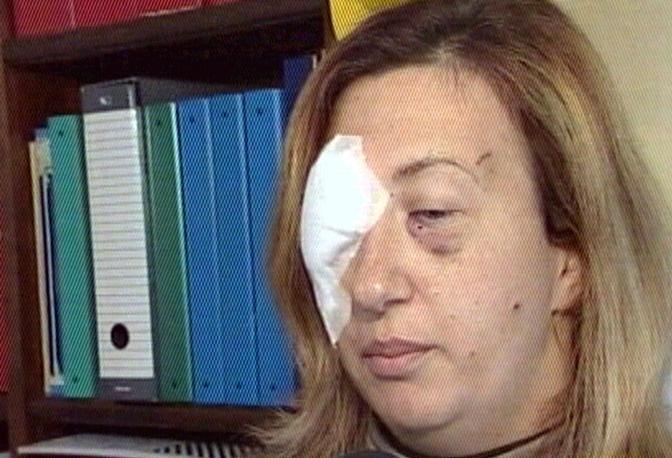 Michela Partinelli, la donna rimasta lievemente ferita dall'ordigno posizionato da Unabomber nel Duomo di Motta di Livenza in un'immagine ripresa dal Tg1