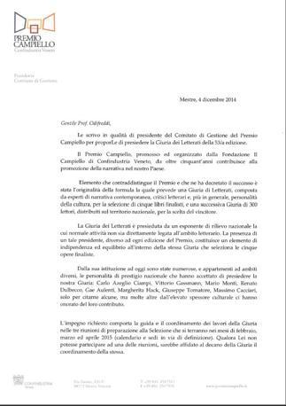 La prima parte della lettera d'incarico inviata a Odifreddi il 4 dicembre 2014 da Pietro Luxardo