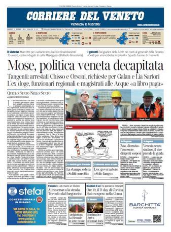 Le prime pagine del Corriere del Veneto