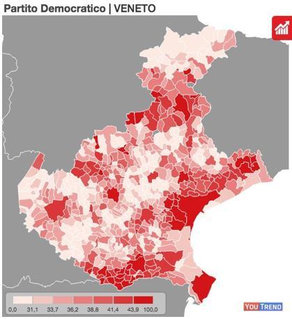 La mappa del consenso democratico in Veneto alle Europee 2014. Oltre ai grandi centri capoluogo, ecco le aree del Veneziano, quella dell'ex polo industriale di Schio-Valdagno, il Bellunese e la bassa rodigina