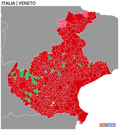 Europee 2014 in Veneto. Il rosso i comuni dove prevalse il Pd, il verde la Lega Nord, il giallo il Movimento Cinque Stelle, l'azzurro l'UDC, il blu Forza Italia, il rosa la SVP (Suedtiroler Volkspartei)