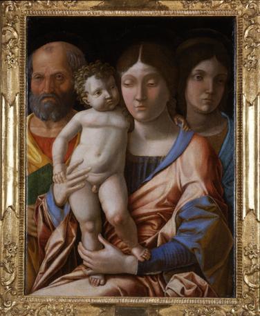 Andrea Mantegna, sacra famiglia con una santa