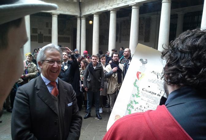 Il professor Giuseppe Amadio e i goliardi
