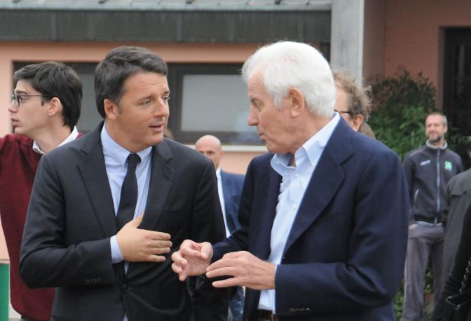 Renzi visita la Ghirada di Benetton con Gilberto Benetton