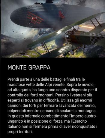 Immagini del videogioco ambientato sul Grappa