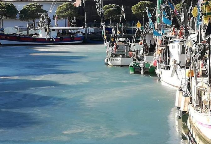 Il porto di Caorle completamente ghiacciato