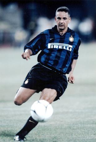 Roberto Baggio con la maglia dell'inter, dove giocò tra il 1998 e il 2000