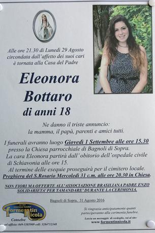 Il necrologio di Eleonora Bottaro, morta di leucemia il 29 agosto 2016