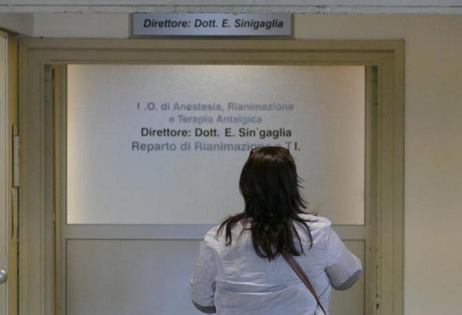L'ingresso nel reparto di rianimazione dove è avvenuto l'omicidio