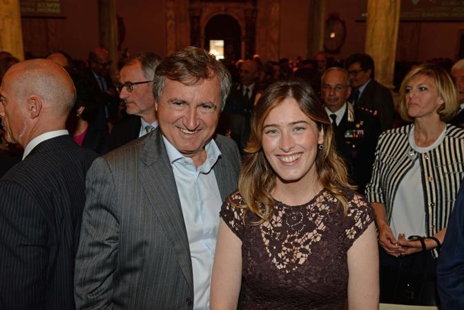 Maria Elena Boschi a Ca' Giustinian, sede della Biennale di Venezia, con il sindaco di Venezia Luigi Brugnaro