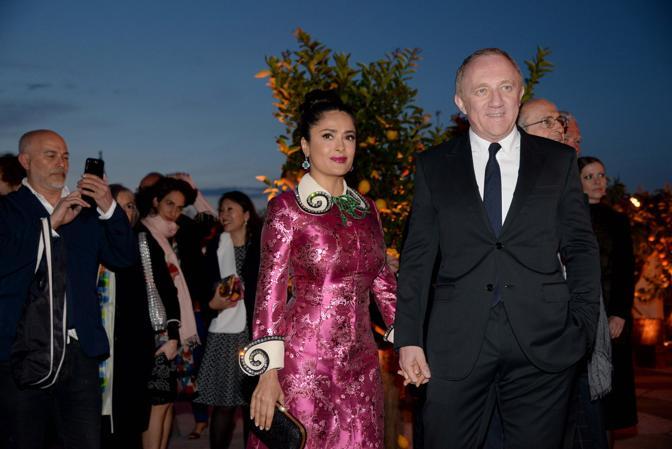 L'attrice messicana Salma Hayek e Henry-François Pinault al ricevimento di Pinault alla Fondazione Cini