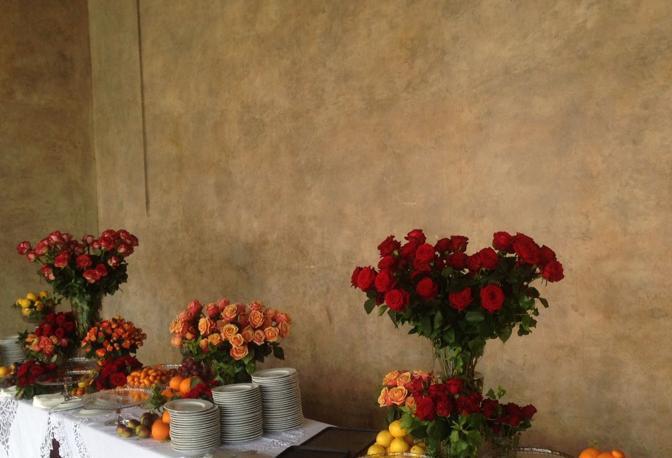L'allestimento del lunch Dolce & Gabbana a Palazzo Ducale, Loggia Foscari