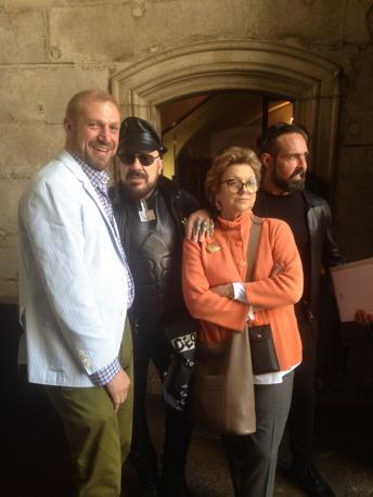 Toto Bergamo Rossi, Peter Marino e Gabriella Belli al lunch dato da Dolce & Gabbana per gli ospiti di Venetian Heritage a Palazzo Ducale, Loggia Foscari