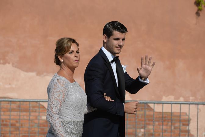 Alvaro Morata con la madre