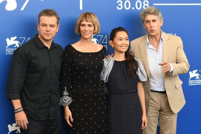 Da sinistra: Matt Damon, Kristien Wiig, Hong Chau, Alexander Payne